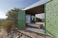 Set on an olive grove hill, this tiny summer house has been built as a low-maintenance getaway for the owner. The project, titled The Olive Tree House, Cad Cam, Small Summer House, Summer Cabins, Off Grid Cabin, Dappled Light, Olive Tree, Interior Exterior, Green Building, Cladding