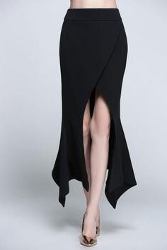 Dezzal - Dezzal Asymmetric Slit Maxi Skirt - AdoreWe.com