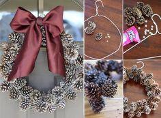 Bricolage e Decoração: Como Reciclar um Cabide e Pinhas para Fazer uma Coroa de Natal