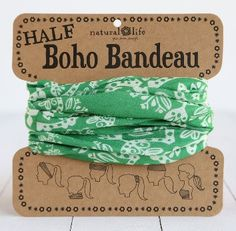 """This Green & Cream Half Boho Bandeau features half the fabric of the boho bandeau and can be worn 6 different ways! Wrap around your head, neck, or ponytail. 100% Polyester 9.5""""L x 9""""W Machine Wash Co"""