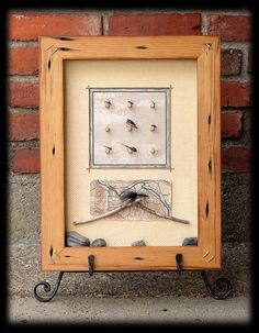 Favorite Fishing Flies - Hand tied & Shadow Boxed with river rocks, twig and map of favorite spot. Framing by Walden Framer, East Lexington MA
