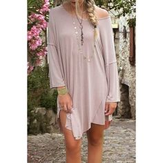 Casual Style Scoop Neck Long Sleeve Spliced Solid Color Women's Dress