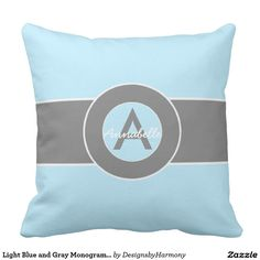 Light Blue and Gray Monogram Personalized Throw Pillow