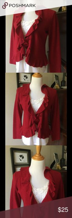 Liz Claiborne NY red ruffled wool cardigan Liz Claiborne NY red ruffled cardigan. Long sleeves, 100% wool. Size Medium Petite. Liz Claiborne Sweaters Cardigans