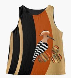 WHOOPOE HOOPOE 289. Sleeveless Top Designed by sana90  🐦🐦🐦#bird-love Hoopoe Bird, Women's Fashion, T Shirt, Tops, Design, Supreme T Shirt, Fashion Women, Tee Shirt