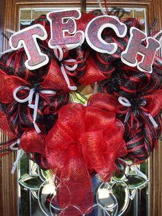 Texas Tech Deco Mesh Wreath