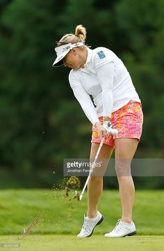 Morgan Pressel tees off on the 2nd hole during the first round of the LPGA Cambia Portland Classic at Columbia Edgewater Country Club on August 13, 2015 in Portland, Oregon.