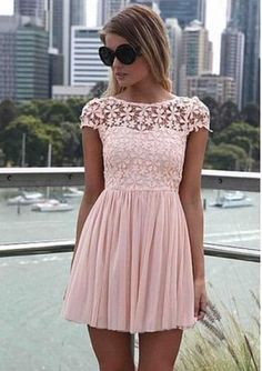 Women's hollow out round neck short sleeve splice pleated hem solid color lace dresses