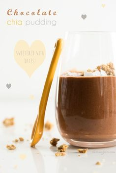 Chocolate Chia Pudding packed with protein, fibre, omega-3 fatty acids, calcium, iron, and more! Get the recipe on http://ohsheglows.com