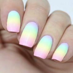 Rainbow pastel ombré nails