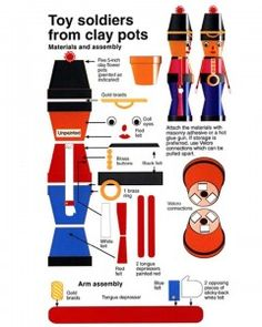 Clay Pot Toy Soldiers- change size of soldier by changing size of pots!
