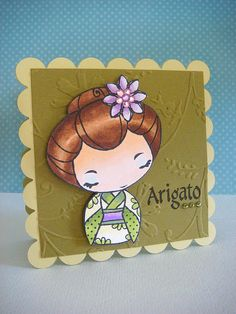 lovely card with Japanese theme ... kimono clad girl image colored beautifully ... Arigato by donna mikasa, via Flickr