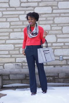 Great sweater and scarf deployment. Bag looks like a good size for carrying all my work stuff. (from Economy of Style | St. Louis Fashion and Budget Style Blog)