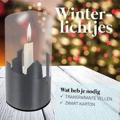Winterlichtjes maken: Met transparante A4 vellen maak je de leukste winterlichtjes. Knip bijvoorbeeld uit zwart karton een skyline en plak dit achter het transparante vel. Plak het transparante vel met de uiteinden aan elkaar.