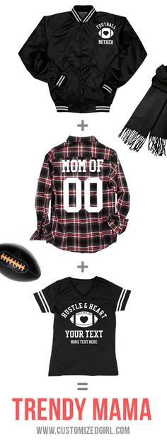 Football moms cheer the hardest and yell the loudest. Customize a football mom shirt, sweatshirt, or jacket to show support for your favorite player this season! #‎footballmom‬