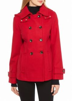 Calvin Klein Red Double Button Hooded Peacoat