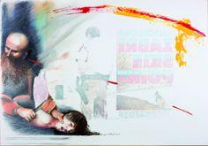 """Una delle opere sul Cinema - Nella mostra """"Bianche di nuovo, in maggio, di voluttuosa ..."""" al Museo della Corona Arrubia - Villanovaforru-Collinas (Cagliari)"""