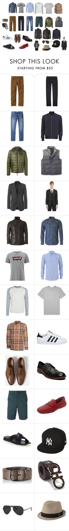 """Capsule Wardrobe For Men"" by thaismalinosk on Polyvore featuring Patagonia, J Brand, MANGO MAN, Versace, Duvetica, L.L.Bean, HUGO, Levi's, SELECTED e Frame Denim"