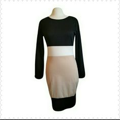 Colorblock Tunic Long Sleeve Sheath Pencil Dress Colorblock pencil dress. Tag says XL but not in U.S Size. Fits more like a Medium. Waist 15 inches Bust Size 18inch ed Length 38 inches. Hip 17 (34) Material 95% cotton 5% spandex Dresses