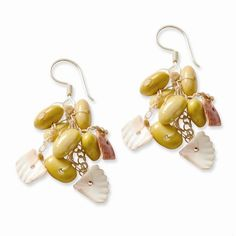 Sterling Silver Canary Bean & Shell Spongie Earrings