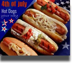 4th of July Hotdaogs... your way. Grilling up franks is as American as apple pie and there are so many delicious ways to top them.  Here are some fun regional hot dog recipes from Ball Park Franks.  Add to the festivities this 4th of July and pick you favorites to offer guests. Create a toppings bar with the ingredients from each and let friends and family make them their way.