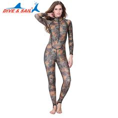 DIVE&SAIL Offical Store one piece women with chest pad Lycra Rash Guard Surf wetsuits Swimwear Long sleeves Camo diving suit