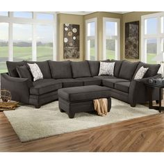 Attirant DCOR Design Campbell Sectional Upholstery: Flannel Seal, Orientation: Right  Hand Facing