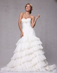 W83 Strapless Organza Fit and Flare Bridal Wedding Gown $512