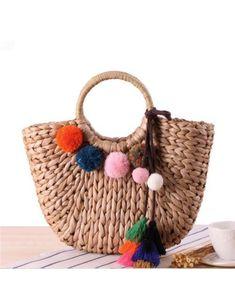 Strandtasche mit Pompoms Gross, Stroh