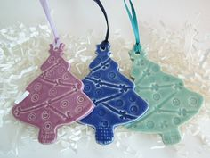 3 Ceramic  Christmas tree ornament Holiday by DarriellesClayArt, $20.00