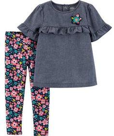 cd2e1eda2 Child of Mine by Carter's - Short Sleeve Ruffle Top & Leggings, 2-Piece  Outfit Set (Toddler Girls) - Walmart.com