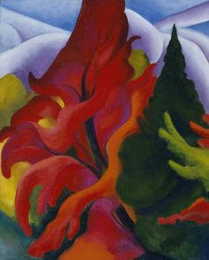 Georgia O'Keeffe (1887 - 1986, American). Trees in Autumn, 1920/21. Oil on canvas. O'Keeffe Museum, Santa Fe, New Mexico, USA,