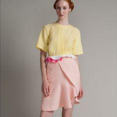 Preen by Thorton Bregazzi skirt sz medium NWT pink Runway piece stunning faux wrap skirt with pockets Preen by Thornton Bregazzi Skirts Asymmetrical