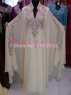 New Beautiful Ladies Dubai Kaftan Farasha Jalabiya Embroidery Abaya. Material: Pure Polyester Georgette for Main caftan. Arab Fashion, Islamic Fashion, Muslim Fashion, Fashion Beauty, Evening Gowns With Sleeves, Evening Dresses, Prom Dresses, Bride Dresses, Abaya Style