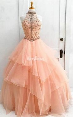 Pink Ball Gown Organza Halter Formal Party Beading Crystal Long Prom Dress