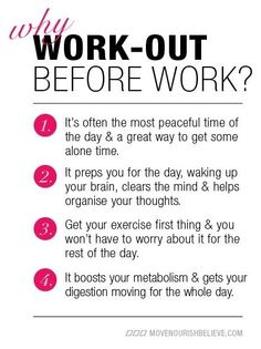 Work out before work! motivation motivation - I like this idea I might have to give it a try again.