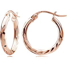 18K Rose Gold 2mm Diamond Cut Round Hoop Earrings35mm (410 UYU) ❤ liked on Polyvore featuring jewelry, earrings, jewelry & watches, diamond earrings, diamond jewellery, diamond hoop earrings, rose gold diamond jewelry and 18 karat gold earrings