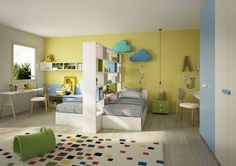 Modern bedrooms for children and teens 2017 – Bedroom with two single beds - Boy And Girl Shared Bedroom, Shared Bedrooms, Girl Room, Girls Bedroom, Bedroom Decor, Modern Bedrooms, Basement Bedrooms, Basement Bathroom, Single Beds