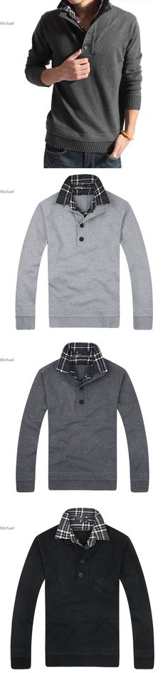 Men's Slim Fit Long Sleeve V-neck Thick Knitted Sweater Knitwear Pullover  3 colors M-XXL