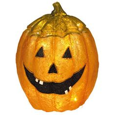 Let this cheerful and vibrant commercial quality Halloween pumpkin decoration scare away the ghosts. The orange and black fiberglass pumpkin is lit from within by clear incandescent mini lights making it safe for children. UL listed for indoor and outdoor use, the 21-inch decoration is chip resistant and treated to resist fading. With proper storage, this grinning ghoul will set a frightful mood for generations to come.