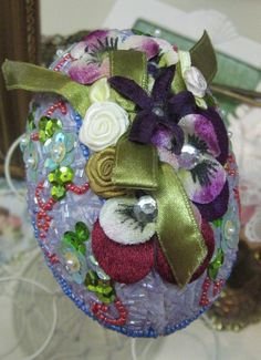 Easter Egg Sequinn Pansys Ribbon Beads Hand made by MOJEART