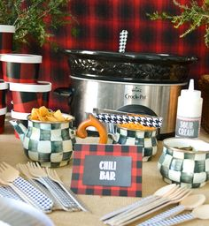 Get in line for the Make Your Own Chili bar! See more party ideas at CatchMyParty.com!