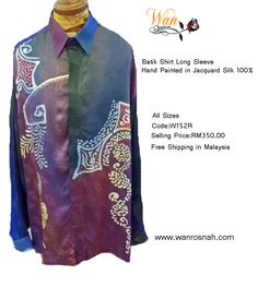 Batik Shirt Long Sleeve in jacquard silk 100%. Fine design with quality workmanship.  Sizes: S/M/L/XL/XXL Available for gift wrap and ship anywhere in the world. Buy online at http://www.wanrosnah.com/batik-long-sleeve-shirt-silk.html