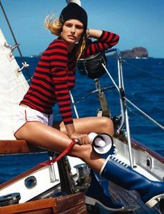 Cute boating outfit! Long Sleeve Stripe Crew by Michael Kors.
