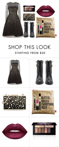 """""""#night out"""" by ukelouiza ❤ liked on Polyvore featuring Oscar de la Renta, Karl Lagerfeld, Sephora Collection, Lime Crime, Smashbox, Boots, dress, glitter and smashbox"""
