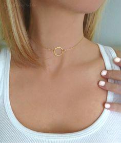 Infinity Choker Necklace - Dainty Circle Minimalist Choker