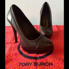 "TORY BURCH leather pump, dark brown, round toe Tory Burch, leather platform pump in dark brown, rounded toe, 4 3/4"" heel, 3/4"" platform, lightly worn. Tory Burch Shoes Heels"
