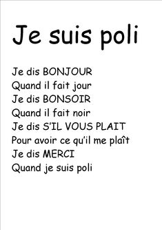 comptine je dis bonjour – Recherche Google French Poems, French Phrases, French Quotes, French Language Lessons, French Language Learning, French Lessons, French Teacher, Teaching French, How To Speak French