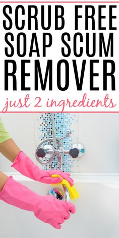 Do you need to deep clean your shower or bath? Check out how to get rid of soap scum build-up without scrubbing. It removes hard water from shower doors, bathtubs, and more! Homemade Cleaning Supplies, Cleaning Recipes, House Cleaning Tips, Diy Cleaning Products, Deep Cleaning, Spring Cleaning, Smelly Bathroom, Bathroom Cleaning Hacks, Best Soap Scum Remover