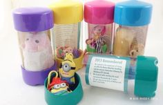 Keep annual time capsules.  Follow this link to buy a viewtainer for $4.55 each